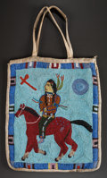 American Indian Art:Beadwork and Quillwork, A UMATILLA PICTORIAL BEADED HIDE FLAT BAG. c. 1910...