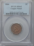 Indian Cents: , 1864 1C Copper-Nickel MS63 PCGS. PCGS Population (423/615). NGCCensus: (263/521). Mintage: 13,740,000. Numismedia Wsl. Pri...