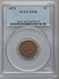 Indian Cents: , 1870 1C XF45 PCGS. PCGS Population (81/238). NGC Census: (43/260).Mintage: 5,275,000. Numismedia Wsl. Price for problem fr...