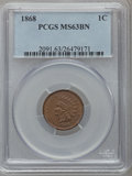 Indian Cents: , 1868 1C MS63 Brown PCGS. PCGS Population (42/51). NGC Census:(43/87). Mintage: 10,266,500. Numismedia Wsl. Price for probl...