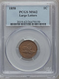 Flying Eagle Cents: , 1858 1C Large Letters MS62 PCGS. PCGS Population (183/1070). NGCCensus: (16/149). Mintage: 24,600,000. Numismedia Wsl. Pri...