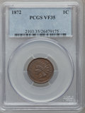 Indian Cents: , 1872 1C VF35 PCGS. PCGS Population (63/517). NGC Census: (30/430).Mintage: 4,042,000. Numismedia Wsl. Price for problem fr...