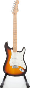 Musical Instruments:Electric Guitars, 2002 Fender Standard Stratocaster Sunburst Solid Body ElectricGuitar, Serial # MZ0253624....