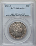 Barber Half Dollars, 1901-S 50C PCGS Genuine. The PCGS number ending in .92 suggestscleaning as the reason, or perhaps one of the reasons, that...