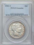 Barber Half Dollars, 1903-S 50C PCGS Genuine. The PCGS number ending in .92 suggestscleaning as the reason, or perhaps one of the reasons, that...