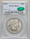 Barber Half Dollars, 1910 50C MS64 PCGS. CAC....
