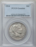 Barber Half Dollars, 1914 50C PCGS Genuine. The PCGS number ending in .92 suggestscleaning as the reason, or perhaps one of the reasons, that P...