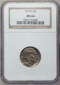 Buffalo Nickels: , 1915-D 5C MS64 NGC. NGC Census: (190/77). PCGS Population(234/165). Mintage: 7,569,000. Numismedia Wsl. Price for problem...