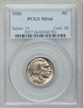 Buffalo Nickels: , 1926 5C MS66 PCGS. PCGS Population (369/30). NGC Census: (157/15).Mintage: 44,693,000. Numismedia Wsl. Price for problem f...