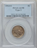 Buffalo Nickels: , 1913-S 5C Type Two AU58 PCGS. PCGS Population (299/997). NGCCensus: (192/725). Mintage: 1,209,000. Numismedia Wsl. Price f...