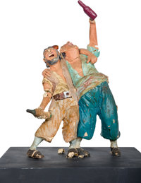 """Disneyland Pirates of the Caribbean Original Maquette """"Two Drunken Pirates"""" (WED Imagineering, early 1960s)..."""