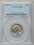 Buffalo Nickels: , 1929-S 5C MS66 PCGS. PCGS Population (172/5). NGC Census: (47/4).Mintage: 7,754,000. Numismedia Wsl. Price for problem fre...