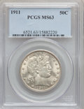 Barber Half Dollars, 1911 50C MS63 PCGS....