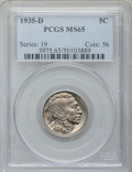 Buffalo Nickels: , 1935-D 5C MS65 PCGS. PCGS Population (438/141). NGC Census:(276/38). Mintage: 12,092,000. Numismedia Wsl. Price for proble...