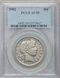 Barber Half Dollars: , 1902 50C AU50 PCGS. PCGS Population (21/235). NGC Census: (4/169).Mintage: 4,922,777. Numismedia Wsl. Price for problem fr...