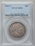 Barber Half Dollars: , 1907-S 50C XF40 PCGS. PCGS Population (10/97). NGC Census: (1/50).Mintage: 1,250,000. Numismedia Wsl. Price for problem fr...