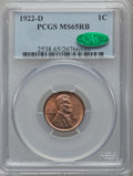 Lincoln Cents: , 1922-D 1C MS65 Red and Brown PCGS. CAC. PCGS Population (30/2). NGCCensus: (37/2). Mintage: 15,274,000. Numismedia Wsl. Pr...