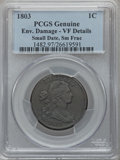 Large Cents: , 1803 1C Small Date, Small Fraction -- Environmental Damage -- PCGSGenuine. VF Details. NGC Census: (24/305). PCGS Populati...