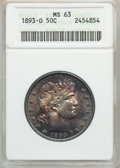 Barber Half Dollars, 1893-O 50C MS63 ANACS....
