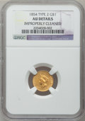 Gold Dollars: , 1854 G$1 Type Two -- Improperly Cleaned -- NGC Details. AU. NGCCensus: (207/5053). PCGS Population (372/2609). Mintage: 78...