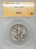 Walking Liberty Half Dollars: , 1921-D 50C VG8 ANACS. NGC Census: (155/511). PCGS Population(301/837). Mintage: 208,000. Numismedia Wsl. Price for problem...