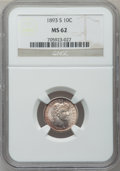 Barber Dimes: , 1893-S 10C MS62 NGC. NGC Census: (21/66). PCGS Population (22/86).Mintage: 2,491,401. Numismedia Wsl. Price for problem fr...