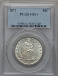 Seated Half Dollars: , 1871 50C MS61 PCGS. PCGS Population (8/47). NGC Census: (9/54).Mintage: 1,204,560. Numismedia Wsl. Price for problem free ...
