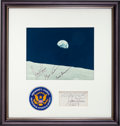 Explorers:Space Exploration, Apollo 8 Flown President's Council on Physical Fitness & SportsEmbroidered Patch in Framed Display with Earthrise Photo, Orig...