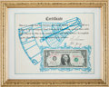 Explorers:Space Exploration, Gemini 3 (Molly Brown) Flown Crew-Signed One-Dollar Bill on Original Crew-Signed Certificate. ...