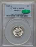 Mercury Dimes: , 1945-S 10C Micro S MS65 Full Bands PCGS. CAC. PCGS Population(158/113). NGC Census: (25/26). Mintage: 41,920,000. Numismed...