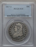 Bust Half Dollars: , 1817/3 50C Fine 15 PCGS. PCGS Population (13/169). NGC Census:(4/131). Numismedia Wsl. Price for problem free NGC/PCGS co...