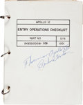 Explorers:Space Exploration, Apollo 12 Flown Entry Operations Checklist Book Originallyfrom the Personal Collection of Mission Command Module ...