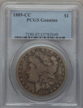 Morgan Dollars, 1889-CC $1 PCGS Genuine. The PCGS number ending in .97 suggestsenvironmental damage as the reason, or perhaps one of the r...