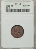 Lincoln Cents, 1922 No D 1C Strong Reverse XF40 ANACS. FS-401....