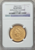 Liberty Eagles: , 1844-O $10 -- Improperly Cleaned -- NGC Details. AU. NGC Census:(37/198). PCGS Population (36/43). Mintage: 118,700. Numis...