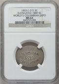 Expositions and Fairs, 1893 World's Columbian Exposition, Elongated 1889 Nickel, MS63 NGC.Eglit-372....