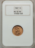 Indian Cents, 1867 1C MS63 Red NGC....