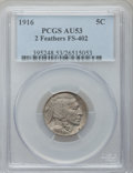 Buffalo Nickels: , 1916 5C AU53 PCGS. 2 Feathers, FS-402. PCGS Population (5/2513).NGC Census: (5/1804). Mintage: 63,498,064. Numismedia Wsl....
