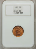 Indian Cents, 1873 1C Open 3 MS64 Red NGC....