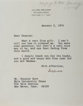 Autographs:Authors, Lillian Hellman, American Playwright. Typed Letter Signed. Verygood....