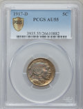 Buffalo Nickels: , 1917-D 5C AU55 PCGS Secure. PCGS Population (64/858). NGC Census:(30/606). Mintage: 9,910,000. Numismedia Wsl. Price for p...