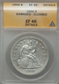 Seated Dollars: , 1866 $1 Motto -- Damaged, Cleaned -- ANACS. XF45 Details. NGCCensus: (7/70). PCGS Population (14/114). Mintage: 48,900. Nu...