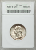 Washington Quarters: , 1937-D 25C MS66 ANACS. NGC Census: (172/16). PCGS Population(273/32). Mintage: 7,189,600. Numismedia Wsl. Price for proble...