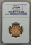 Liberty Half Eagles, 1842-O $5 -- Reverse Damage -- NGC Details. VF. NGC Census: (1/45).PCGS Population (4/42). Mintage: 16,400. Numismedia Wsl...