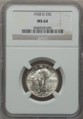 Standing Liberty Quarters: , 1928-D 25C MS64 NGC. NGC Census: (509/509). PCGS Population(833/643). Mintage: 1,627,600. Numismedia Wsl. Price for proble...