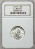 Standing Liberty Quarters: , 1920 25C MS65 NGC. NGC Census: (183/80). PCGS Population (214/57).Mintage: 27,860,000. Numismedia Wsl. Price for problem f...