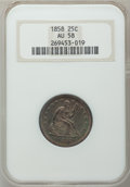 Seated Quarters: , 1858 25C AU58 NGC. NGC Census: (29/201). PCGS Population (28/230).Mintage: 7,368,000. Numismedia Wsl. Price for problem fr...