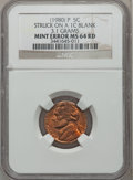 Errors, (1980)-P 5C Jefferson Nickel -- Struck on a Blank 1C Planchet --MS64 Red NGC. 3.1 grams....