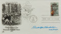 Autographs:Artists, Rudolph Wendelin, American Cartoonist and Creator of Smokey theBear. Signed First Day Cover with Original Drawing. Very goo...