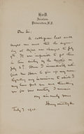 Autographs:Authors, Henry van Dyke, American Author. Autographed Letter Signed. Very good....